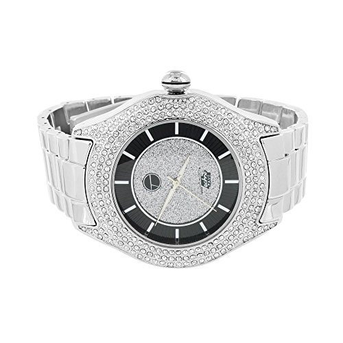 Black Diamond Dial Watch (Round Analog Mens Watch Simulated Diamonds Black White Dial Jojino Joe Rodeo)