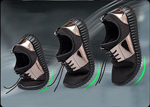 Beauqueen Zapatillas de deporte Bluchers hueco transpirable no deslizante casual deportivo calzado deportivo UE tamaño 35-44 Silver