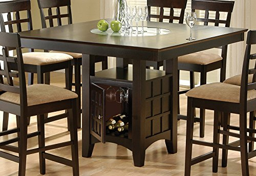 - Gabriel Counter Height Dining Table with Storage Pedestal Base Cappuccino