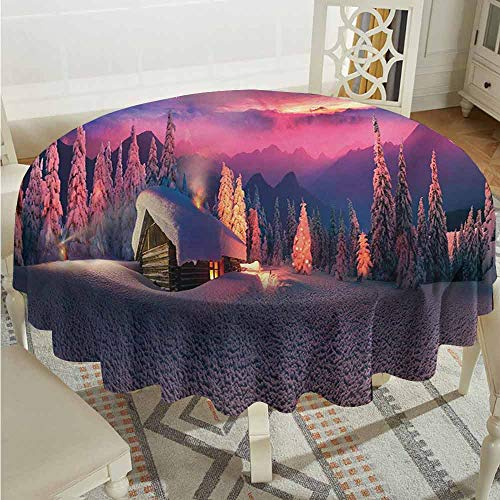 XXANS Waterproof Table Cover,Milky Way,Wild Alpine Scene with Cabin in The Woods Winter with Starry Skyline Illustration,for Banquet Decoration Dining Table Cover,63 INCH,Multicolor (The Cabin In The Woods Final Scene)