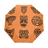 Africa Mask Set Auto Open Close Handle Umbrella Cute Woodproof Compact Rain Umbrella