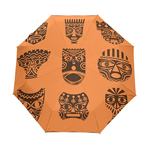 Africa Mask Set Auto Open Close Handle Umbrella Cute Woodproof Compact Rain Umbrella by THENAGD