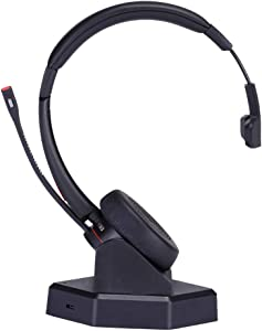 MKJ Wireless Headset with Microphone for Office Phone Conference Headset Noise Cancelling for VoIP Softphones from Yealink Grandstream Cell Phones Computer PC Laptop Skype Calls Microsoft Teams etc
