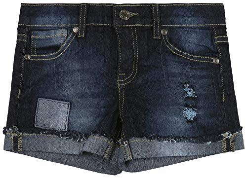 ToBeInStyle Girl's Denim Mini Shorts - Patched Distressed Darkwash - 14