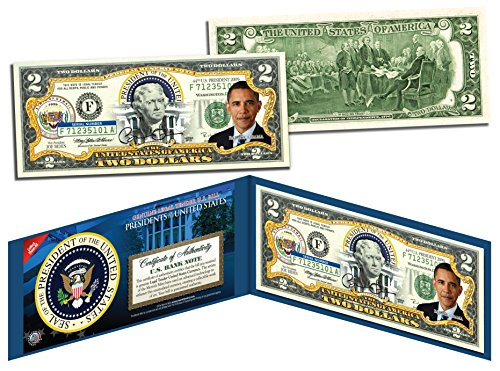 BARACK OBAMA *Presidential Series #44* Genuine Legal Tender US $2 Bill - Seal Gold United Note States