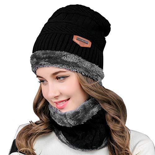Yinuoday Reversible Winter Warm Knit Hat Ski Cap Fleece Neck Warmer Circle Loop Scarf for Women Men (Black)