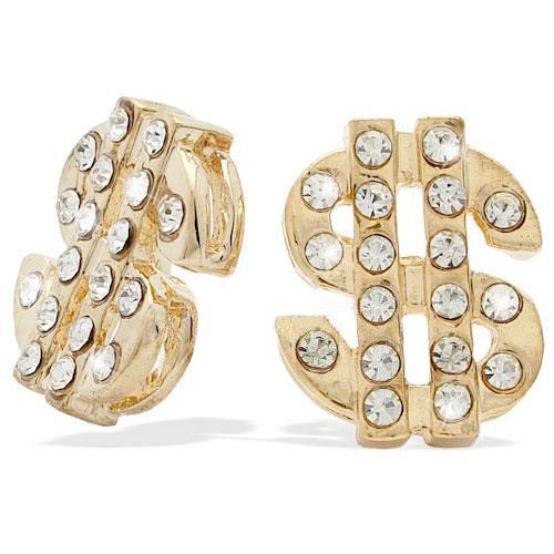 Gold Tone Dollar Sign Earrings