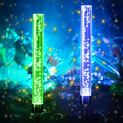 Outdoor Solar Garden Stake Lights, WdtPro Waterproof Solar Acrylic Bubble Light, RGB Color Changing Solar Powered Decorative Lights for Garden Yard Patio Pathway (2 Pack)
