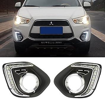 AupTech 9-LEDs funda luces de conducción diurna LED DRL antiniebla de coche para Mitsubishi ASX Outlander Sport 2013 2014: Amazon.es: Coche y moto