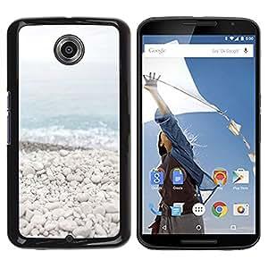 TopCaseStore / la caja del caucho duro de la cubierta de protección de la piel - Beach Stones Waves Blue Sea Horizon - Motorola NEXUS 6 / X / Moto X Pro