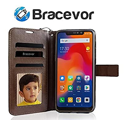 best cheap 0d7ab dab06 Bracevor Flip Cover for Xiaomi Redmi Note 6 Pro Leather Case | Foldable  Stand | Inner TPU | Wallet Card Slots - Executive Brown