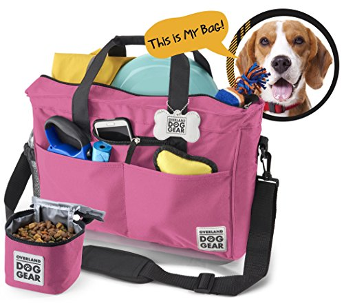 - Dog Travel Bag - Day Away Tote Dogs - Includes Bag, Lined Food Carrier, and Luggage Tag (Pink)