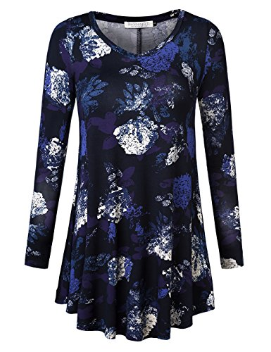 Flare Dark Wash (BaiShengGT Women's Plus Size Swing Tunic Top Long Sleeve Floral Flare T-Shirt X-Large Dark Blue)