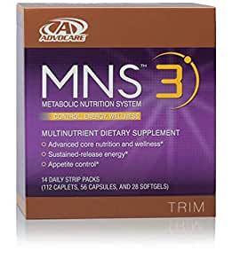 AdvoCare MNS Max 3, 14 Daily Strip Packs (112 Caplets, 56 Capsules, and 28 Solftgels)