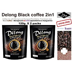 2 packs of 2 IN 1 Black coffee (De'long brand) , Coffee mix with Microground Sungyod Rice (Native brown rice) 120g.