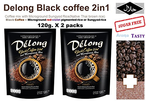 120 Servings Canister (2 packs of 2 IN 1 Black coffee (De'long brand) , Coffee mix with Microground Sungyod Rice (Native brown rice) 120g.)