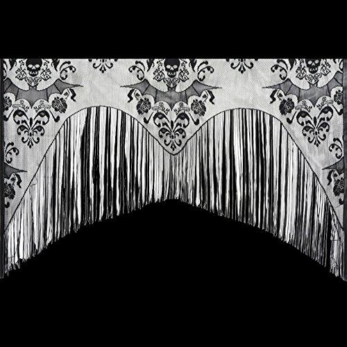 Gothic Black Lace SKULL BAT CURTAIN VALANCE SHAWL Halloween Haunted House Decor Scary Prop