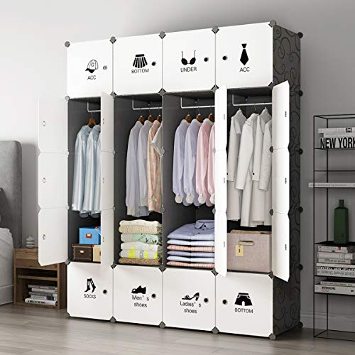 KOUSI Portable Closet Wardrobe Closet Clothes Closet Bedroom Armoire Storage Organizer with Doors, Spacious & Sturdy, Extra Space & Durable Black HHRBYG-TZ (8 Cubes&4 Hanging Section)