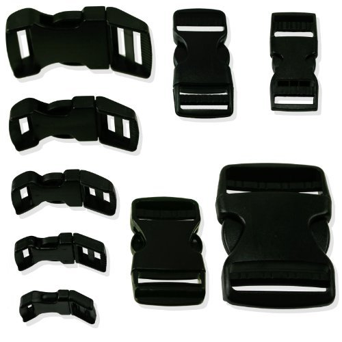6pc Quick Release Black Strap Buckles Choose From 10 Sizes/Shapes - For Nylon Webbing or Canvas Straps - Female Buckle