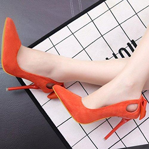 Alto Scarpette Donna Arancione Vuote Tacco Abbottonata Xianshu Scarpe Stiretto Punta qcRvwtgqCx