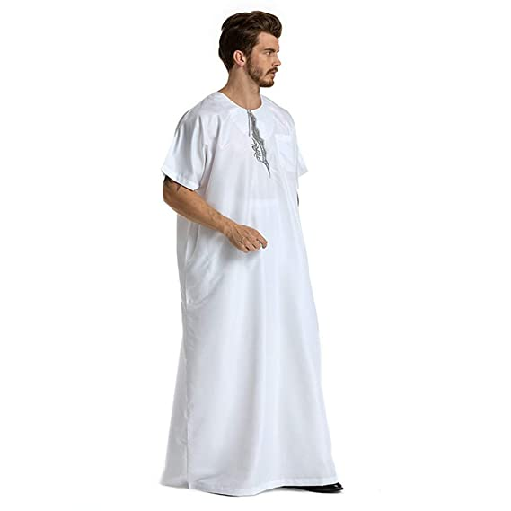 LILICAT✈✈ 2019 Bata Larga Musulmana de Estilo Nacional árabe Oriental Oriental para Hombre Hombres túnicas étnicas de Manga Larga islámica Oriente Medio ...