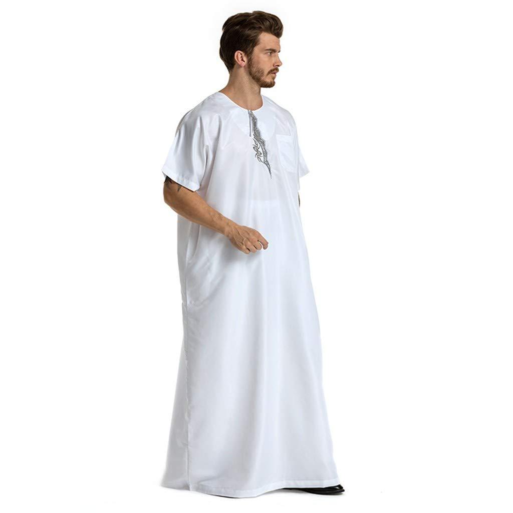 Men Muslim Ethnic Long Robes Summer Casual Loose Fit Short Sleeve O-neck Islamic Muslim Middle East Maxi Dress Kaftan (XXL, White)