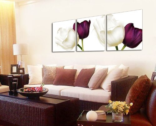 Mon Kunst 3 Panels Wall Art White and Purple Tulips Painting