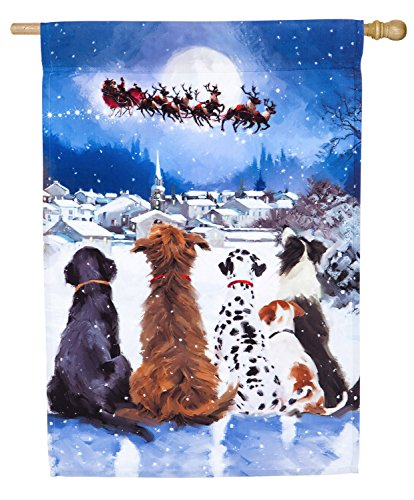 Enterprise Satin - Evergreen Christmas Dogs Satin House Flag, 29 x 44 inches
