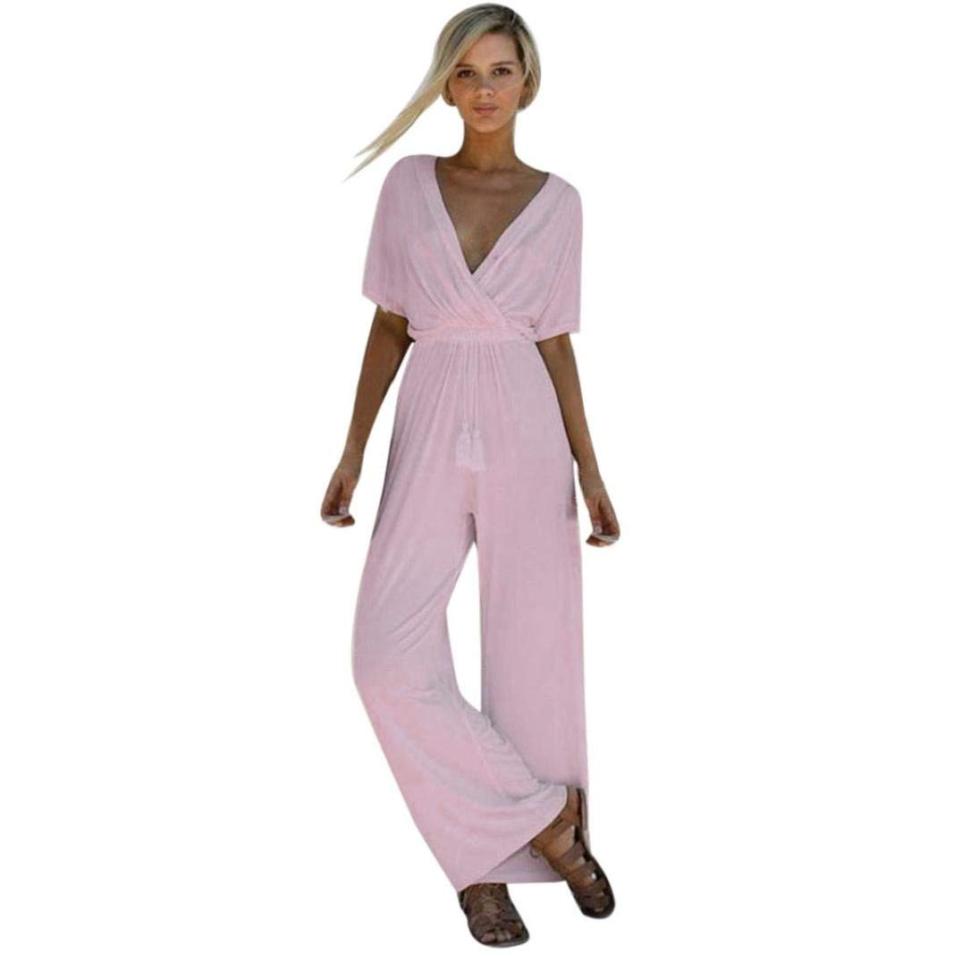 GWshop Sexy Elegant Jumpsuits, Casual Rompers,Women Sexy V Neck Playsuit Party Ladies Bodysuit Half Sleeve Long Jumpsuits Pink XL