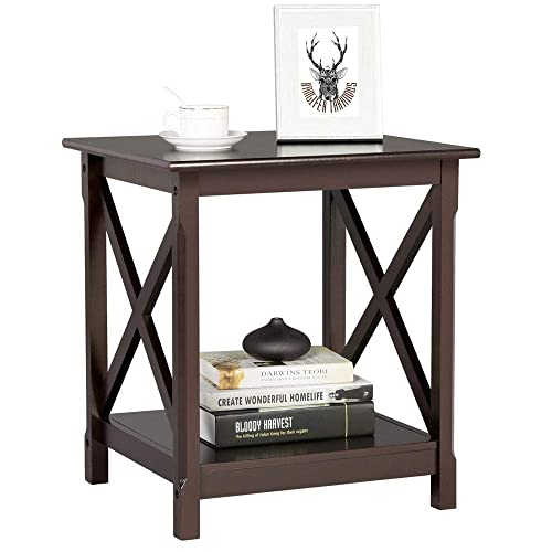 Topeakmart X Design Wood Sofa Side End Table with Storage Shelf for Living Room, Espresso, Rustic
