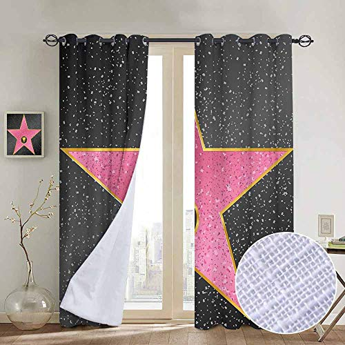 NUOMANAN backout Curtains for Bedroom Popstar Party,Hollywood Walk of Fame Symbol Celebrity Entertainment Culture,Charcoal Grey Pale Pink,Pocket Thermal Insulated Tie Up Curtain 84