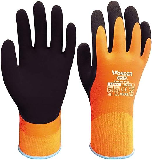 OWSOO Wonder Grip Thermo Plus Gants De Travail R/ésistant Au Froid Double Couche De Latex Enduit De Protection De Jardin P/êChe Gants De Travail XL