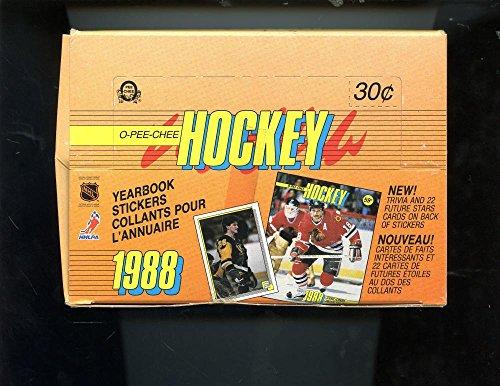 - 1988-89 O-Pee-Chee Hockey Yearbook Sticker Card Set Wax Pack Box 1989 OPeeChee