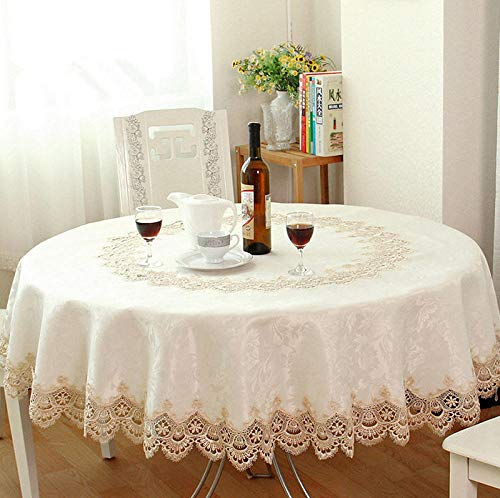 HZDDR Big Sale European Garden Embroidered Round Tablecloth Dining Table Cover for Wedding Cabinet Cushion Package Elegant Table cloth-90inch-228cm (Cushions Sale)