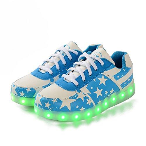 Luz Blanco 7 para LED tamaño DoGeek Elegir USB más Luminosas Hombres 1 Deporte Carga Mujeres Zapatos Unisex Azul Zapatillas Colors Flash de Grande CaCqxwX5