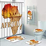 Philip-home 5 Piece Banded Shower Curtain Set Africa Map Wooden Africa map with Wood Texture and Colorful Landscape offantasy with Baobab Trees Decorate The Bath