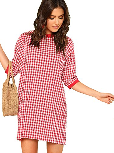 DIDK Women's Round Neck Half Sleeve Ribbed Trim Gingham Dress Red ()
