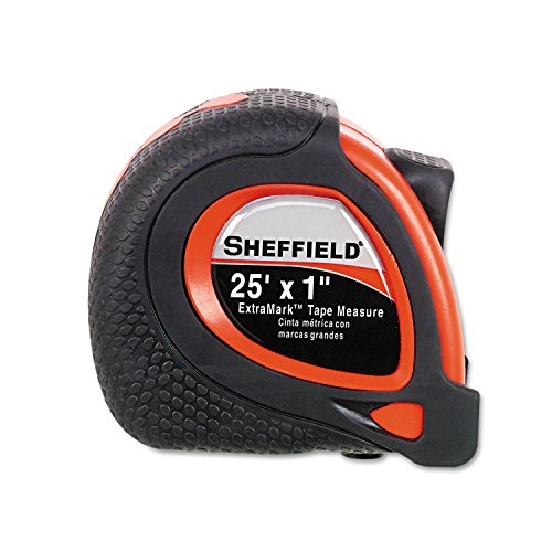 Great Neck 58652 Sheffield ExtraMark Tape Measure, Red with Black Rubber Grip, 1'' x 25 ft by Great Neck (Image #1)