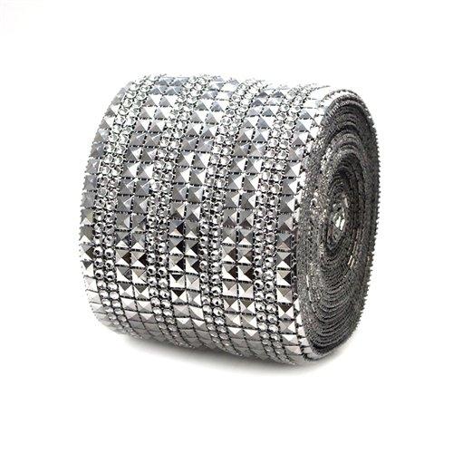 Homeford Firefly Imports Pyramid Studs Rhinestone Diamond Mesh Wrap, 4-Inch, 10 Yards, Silver, ()