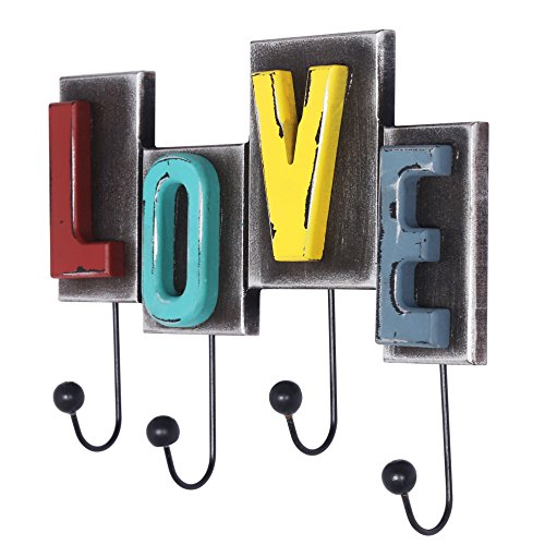 Dseap Vintage Love Letter Hook, Rustic Finish, Country Farmhouse Style, Decorative Wall Hook, Wall Mounted Hanger, 4 Hooks for Coat Hat Towel Purse Key Robes Clothing
