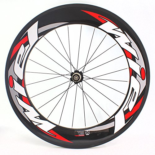 Wiel 700c 88mm Carbon Fiber Road Bike Tubular Wheels Bicycle Wheelset for Shimano - 3k Glossy Red White R88t