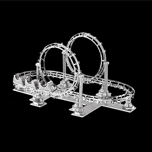 PINCHUANGHUI 3D Model Car Metal Assembly Car Model Roller Coaster Pattern DIY Building Block Toy,Silver