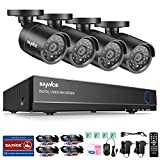 SANNCE 5-in-1 8CH 1080N CCTV DVR Recorder System with (4) 720P 1.0MP Outdoor Night Vision Security Camera for Outdoor/Indoor, 66FT Night Vision, Email Alert, NO HDD