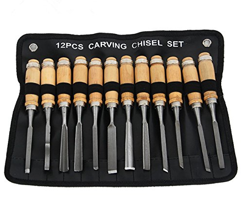 FixtureDisplays Wood Carving Chisel Set, Professional Wood Carving Tools, 12 Pieces with Carrying Case 16970-NPF