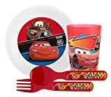 Zak! Designs ''Cars'' Mealtime Set Includes Bowl, Tumbler Cup, Fork and Spoon Featuring Lightning Mcqueen & Mater! BPA-free, 4 Piece Set