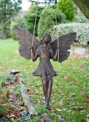 Adornos de jardín grande - diseño de hada con acabado en bronce envejecido Escultura pendular: Amazon.es: Jardín