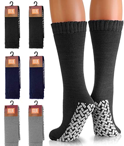 6 Pack Non-Skid No Slip Hospital Tube Socks for Adults - Assorted Colors and Sizes