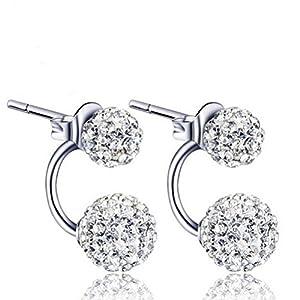 KOREA-JIAEN S925 Sterling Silver Earrings Double Sided Fully-jewelled Spherical Bead Stud Earrings