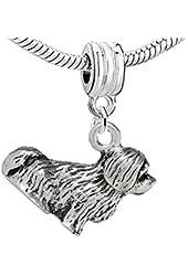 """Dangling """"Dog"""" Charm Bead for European Snake Chain Charm Bracelet"""
