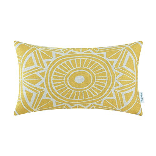 CaliTime Canvas Bolster Pillow Cover Case for Couch Sofa Home Decoration Modern Compass Geometric 12 X 20 inches Vibrant Yellow